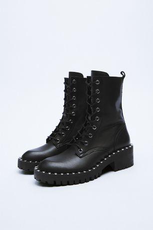 Ботинки кожаные челси черевики женские Zara