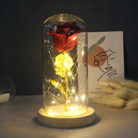 WIECZNA RÓŻA W SZKLE*Led*dekoracja*Prezent*Oświetlenie* Okazja!