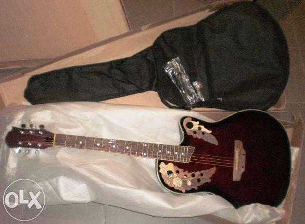 Guitarra roundback tipo ovation castanha tabaco
