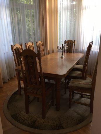 Stylowy stół dębowy na 12 osób komplet z krzesłami