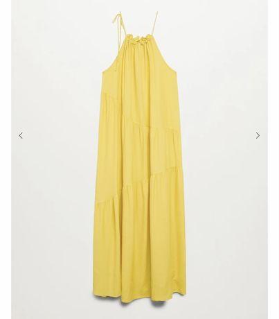 Vestido comprido e fluido Mango