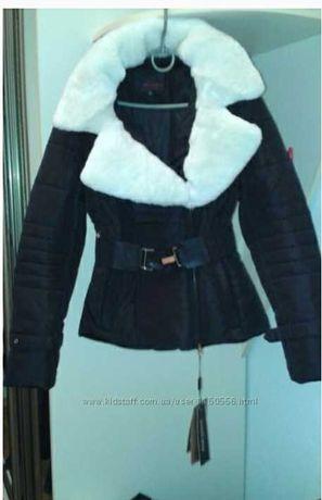 Куртка пуховик женская зимняя с белым мехом