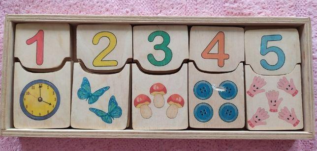 """Пазлы Деревянная игрушка """"Половинки цифры"""" Рахуємо від 0 до 10"""