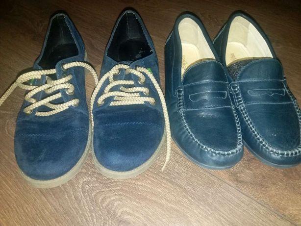Туфли синие замша , кожа женские Италия 22,5см