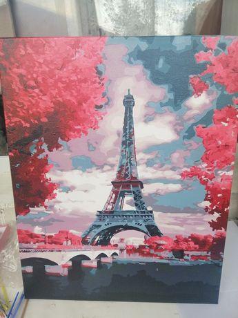 Нарисованая картина по номерам готовая картина Париж Эйфелевая башня