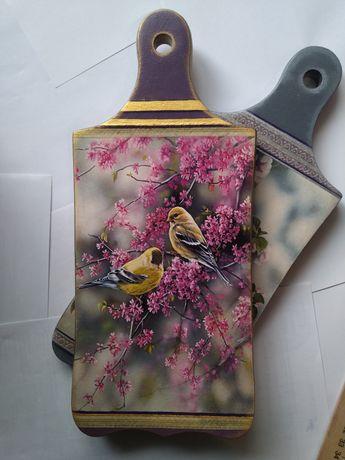Деревянная досочка Птицы серебро для декора кухни ручная декупаж