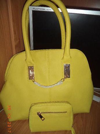 komplet torebka+portfel na prezent,żółty,kanarkowy