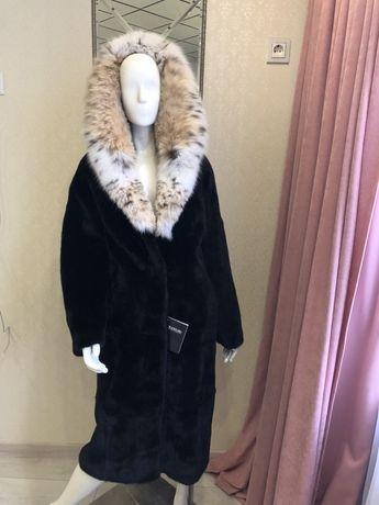 Норковая шуба blackglama с капюшоном из рыси naoum furs