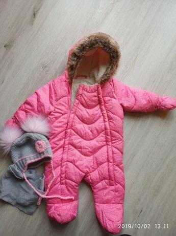 Kombinezon f&f zimowy rozowy gratis czapka i szalik