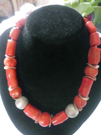 Autorski naszyjnik z korala i srebra