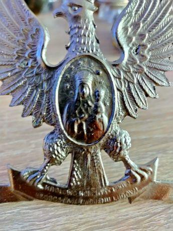Orzeł z cyny 8,5 cm na 8,5cm z Matką Boską