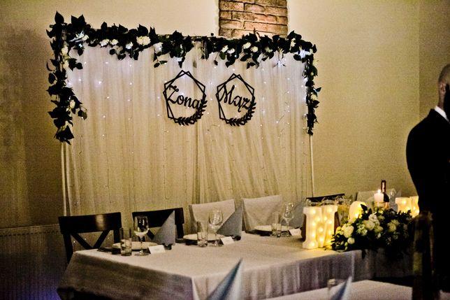 ścianka dekoracyjna weselna tło za Parą Młodą