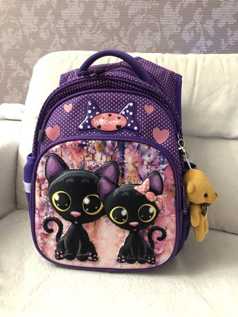 Рюкзак школьный для девочки в 1 класс Winner one kite kitty фиолетовый