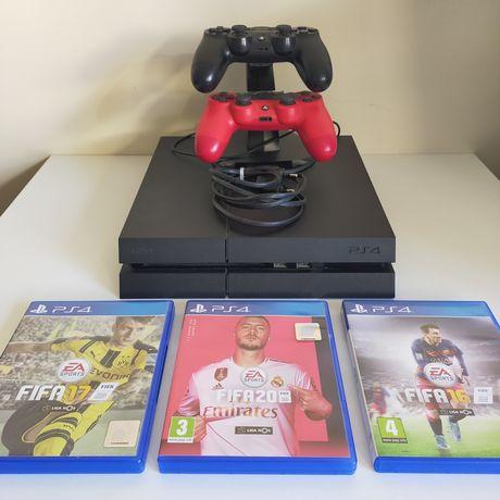 PlayStation 4 + comandos + jogos FIFA + suporte carregador comandos