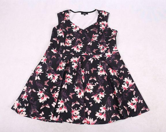 Czarna sukienka w kwiaty piankowa elegancka 50 52