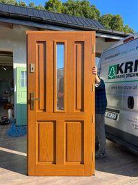 Drzwi Zewnętrzne drewniane  dębowe złoty dąb Cała Polska