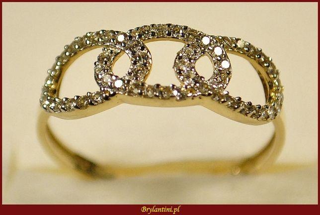 Złoty pierścionek z cyrkoniami- splecione kółka złoto 585