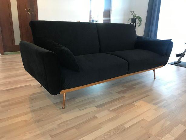 czarna elegancka sofa