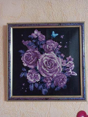 Картина алмазная, розы, алмазы и светящиеся нитки