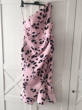 Sukienka piankowa Asos pianka łaty łatki 38 M midi pudrowy róż