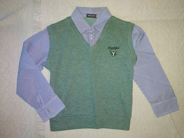 Кофта (рубашка-обманка с жилеткой) 7 - 8 лет (122 р.) Свитер школьный