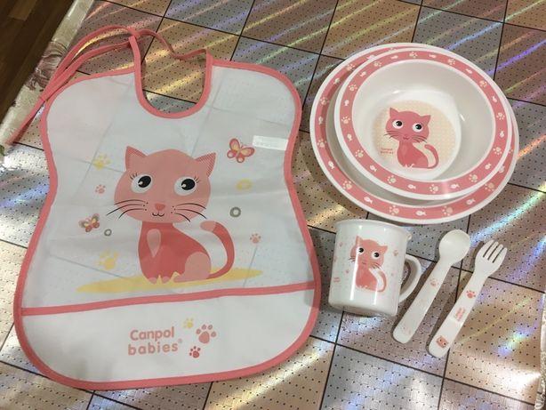 Набор детской посуды для приема пищи + слюнявчик. Цена за все