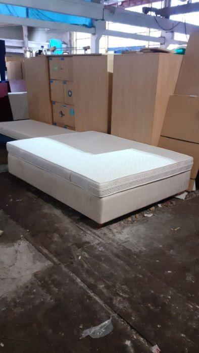 Łóżko kontynentalne 160x200cm z materacem solidne rama drewno Siemianowice Śląskie - image 1