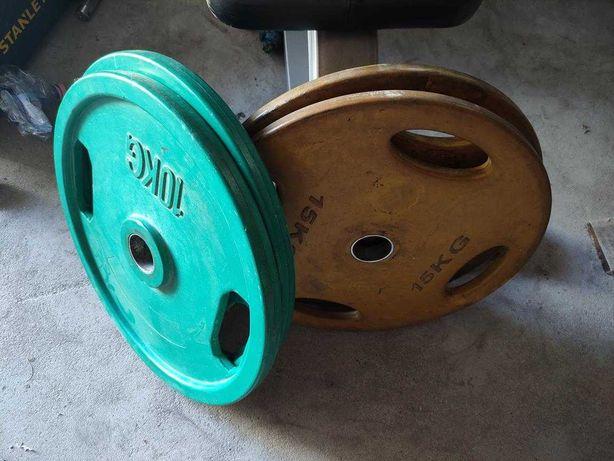 Obciążenie Ogumowane Olimpijskie cienkie 2x15kg i 2x10kg 50kg