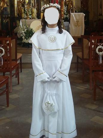 Alba suknia komunijna z butami, rękawiczkami, torebką i wiankiem
