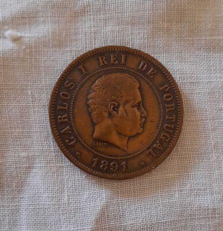 XX Reais de 1891 Linda Moeda de Bronze - Rei D. Carlos I