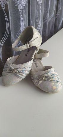 Туфли туфельки на праздник на утренник новый год( белые серебристые) 2
