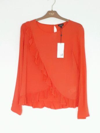 Pomarańczowa bluzka Reserved S z falbankami falbany