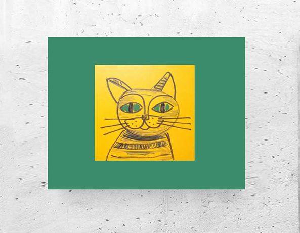 rysunek z kotem, kot obraz A4, kotek grafika na ścianę