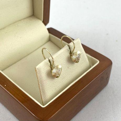 Złote kolczyki serduszka z kamyczkiem PR.333 (8K)