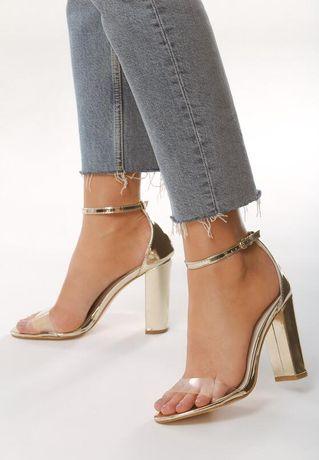 Złote sandały 38 jak nowe