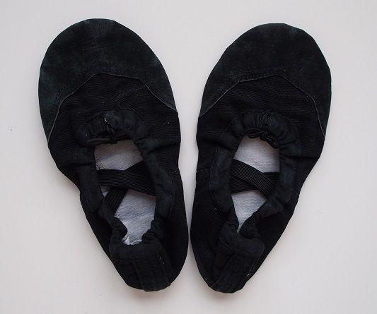 Czarne dziewczęce baletki do tańca i gimnastyki – rozmiar: 27