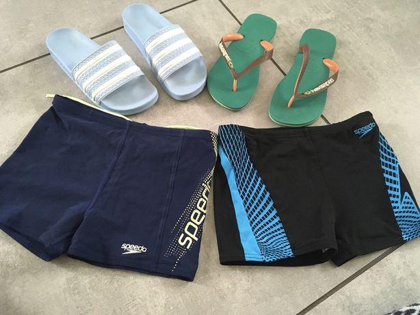 Speedo kąpielówki 2 szt+ klapki adidas+japonki