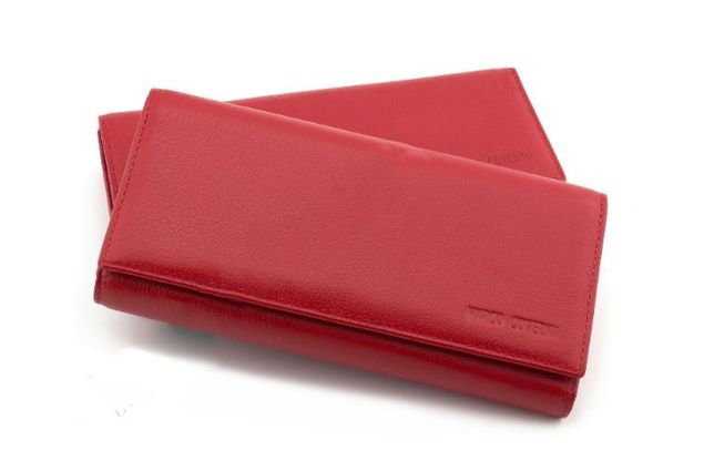 Женские кошелек на магнитах с блоком для карточек красный и черный.