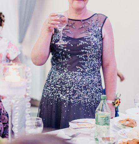 Anna Field długa suknia wieczorowa maxi tiul cekiny ozdobna zalando
