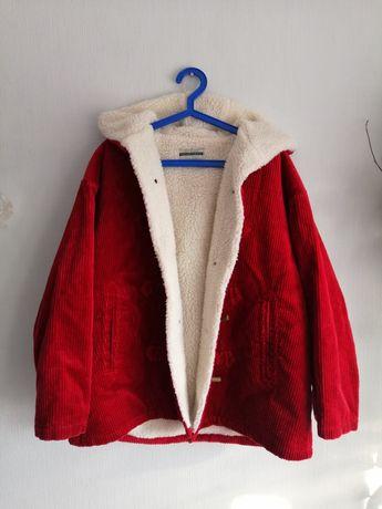 Czerwona sztruksowa kurtka z kozuszkiem Vintage z kapturem oversize