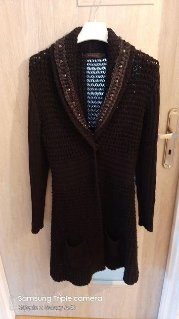 Długi sweter narzuta czarny