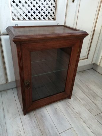 Szafka ścienna drewno i szkło vintage