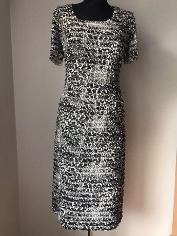 Sukienka XL 44 czarno biała zebra w paski wesele