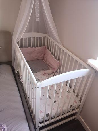 Łóżeczko dziecięce sosnowe białe z materacem 120cm x 60cm