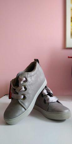 Trampki sneakersy na koturnie podwyzszeniu szare srebrne new tlck 38
