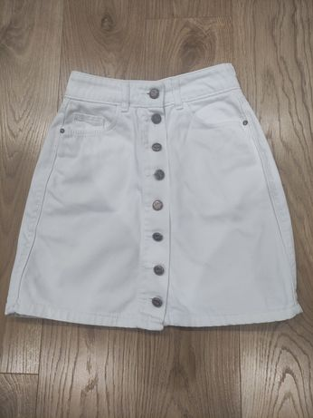 Біла, джинсова спідниця
