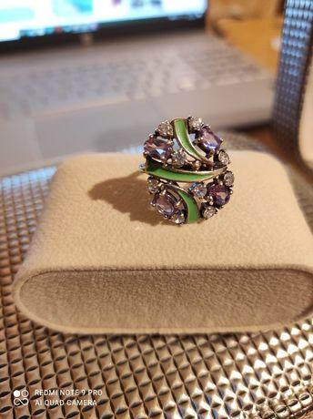 Кольцо серебро, эмаль, аметисты