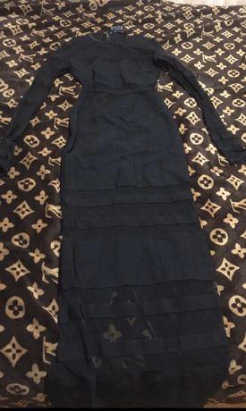 Платье в пол оригинал Herve leger с сеткой прозрачной
