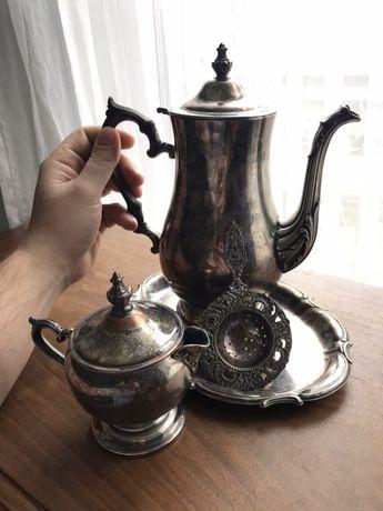 Винтажный традиционный голландский кофейный набор (посеребрённый)
