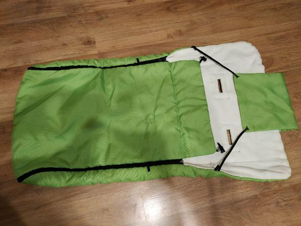 Śpiworek do wózka na sanki zielony jak nowy!